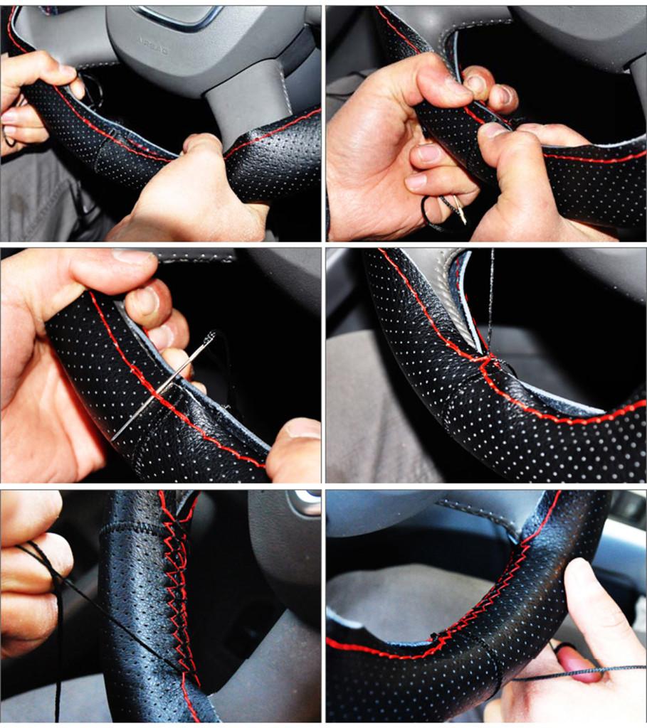 кожаная оплетка на руль со шнуровкой